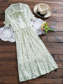 Pussy Bow Tie Floral Pleated Dress - Off-white