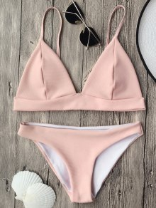 Cami Plunge Bralette Bikini Top And Bottoms - Pink S