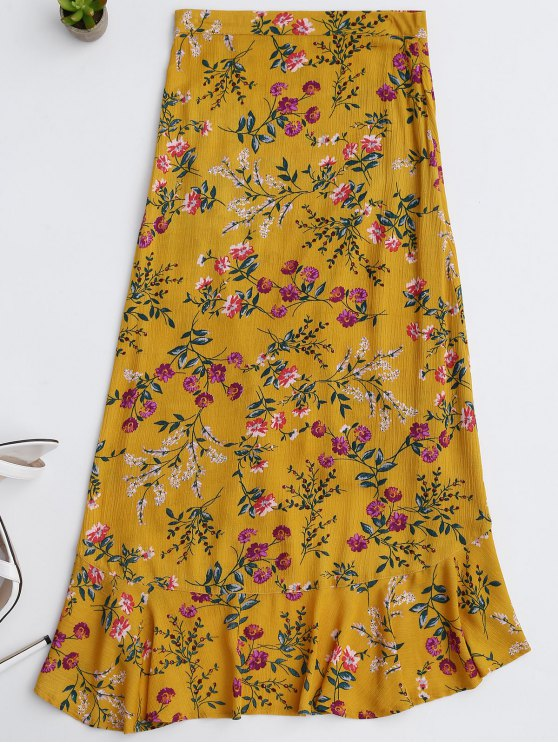 Ruffles Asymmetrical Skirt - YELLOW S Mobile