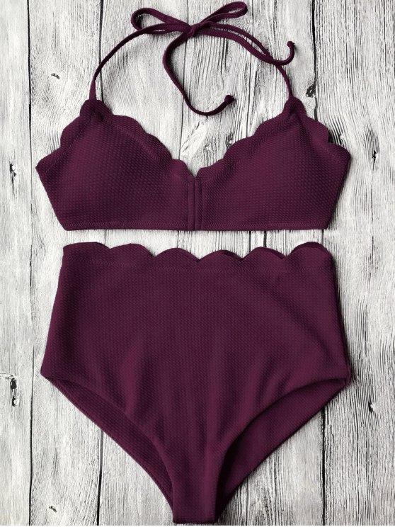 Halter Scalloped conjunto de bikini de alta cintura - Merlot M