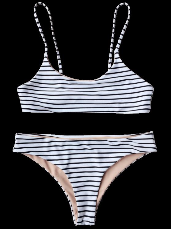 Cami Striped Bralette Bikini Set - WHITE S Mobile