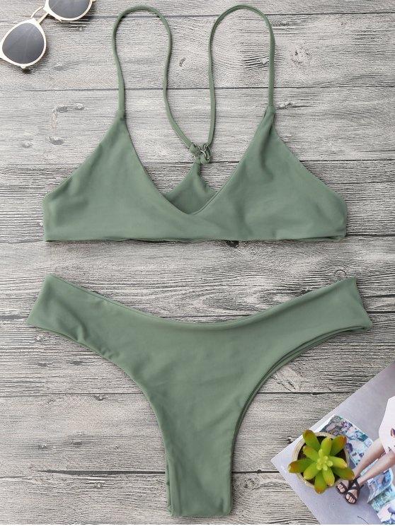 Spaghetti Strap Thong Bikini Set - Verde del ejército M