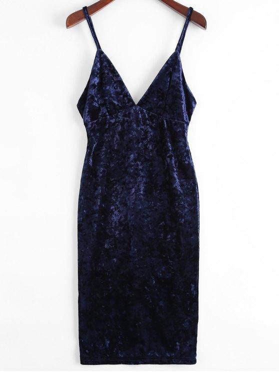 Vestido con cuerpo de terciopelo de terciopelo de Midi - Azul Purpúreo XL