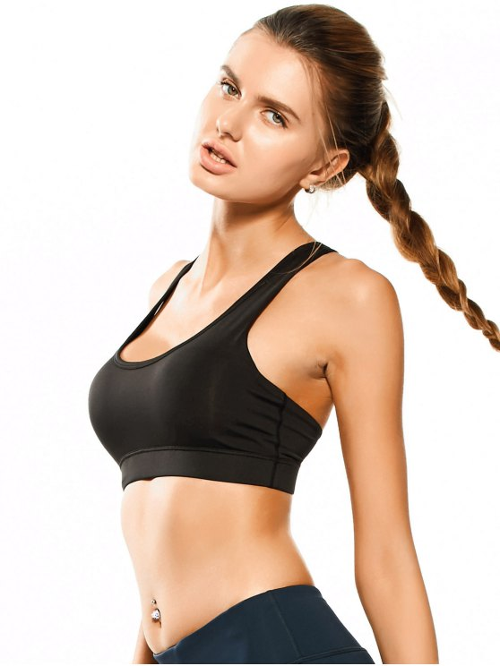 Padded Y Back Sporty Bra - BLACK M Mobile