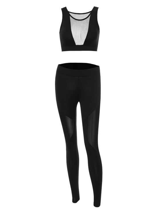 See-Through Mesh Spliced Skinny Sport Suit - BLACK M Mobile