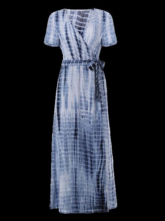 Tie-Dyed Short Sleeve Surplice Maxi Dress - DEEP BLUE XL Mobile