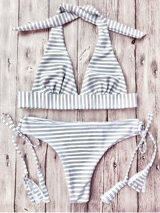 Juego de bikini de rayas halter plunge - RAYA L