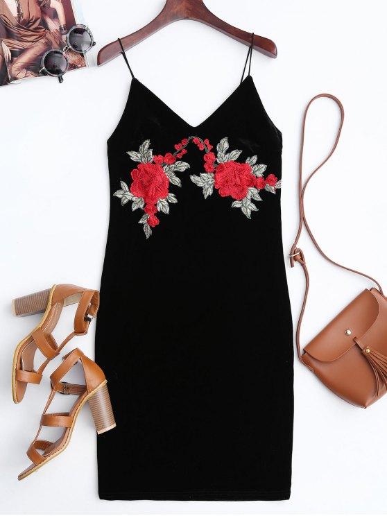 Vestido Ceñido de Terciopelo con Bordado de Rosa - Negro XL