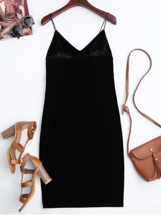 Rose Embroidered Velvet Bodycon Dress - BLACK S Mobile
