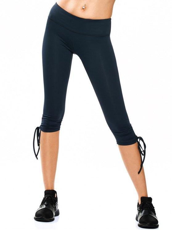 Pantalones Capri Yoga de Cordón - Teal XL