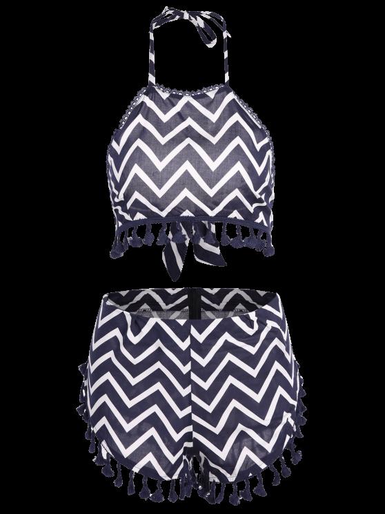 Zig Zag Halter Crop Top and Shorts Suit - PURPLISH BLUE L Mobile