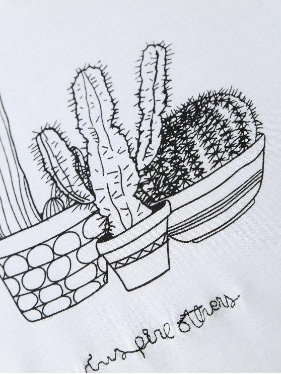 Cactus Graphic Cotton Blend T-Shirt - WHITE M Mobile