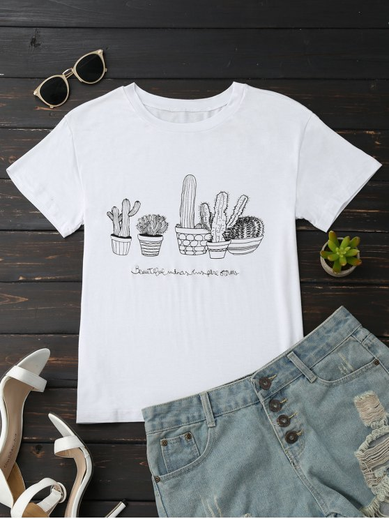 affordable Cactus Graphic Cotton Blend T-Shirt - WHITE M