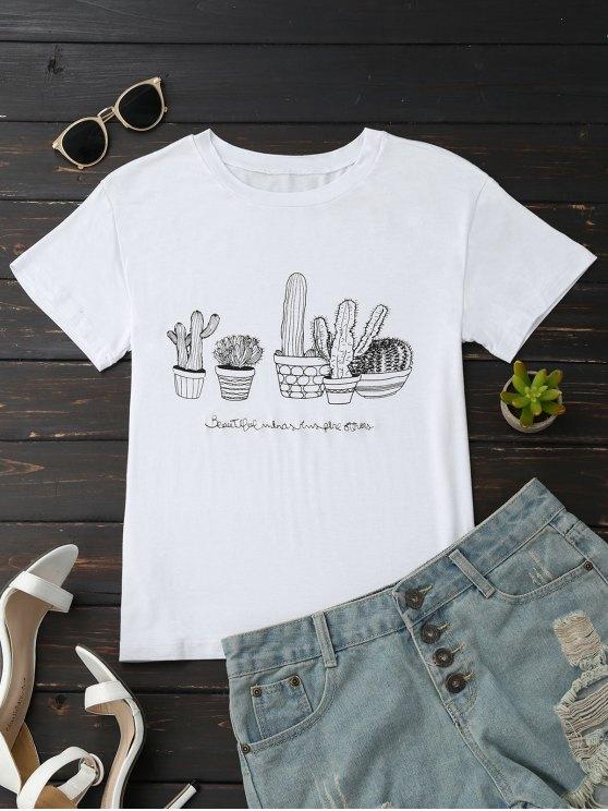 Cactus Graphic Cotton Blend T-Shirt - Blanco L