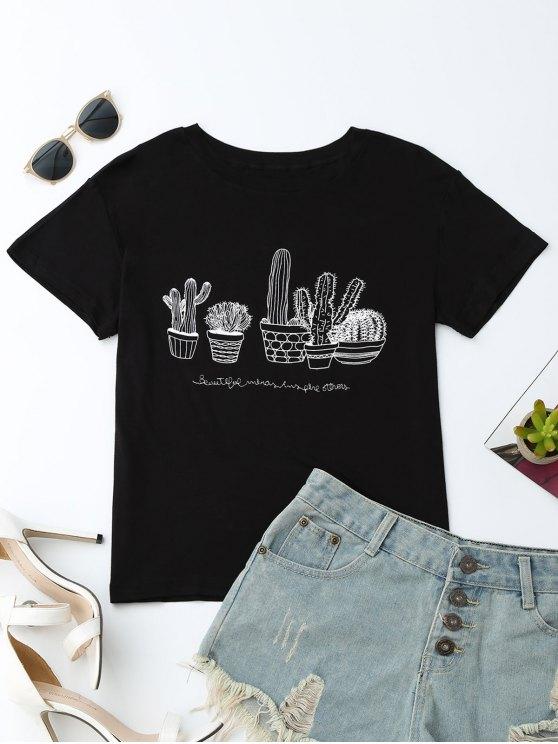 women Cactus Graphic Cotton Blend T-Shirt - BLACK M