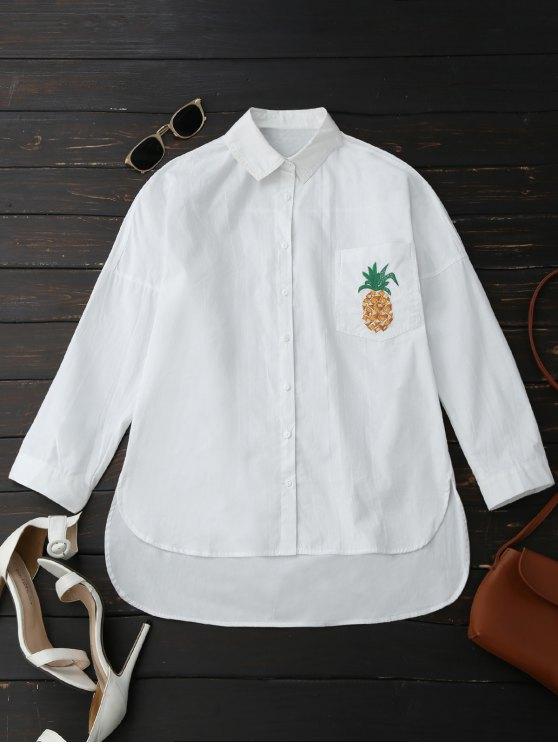 Boyfriend High Low Pineapple Pocket Shirt - WHITE L Mobile