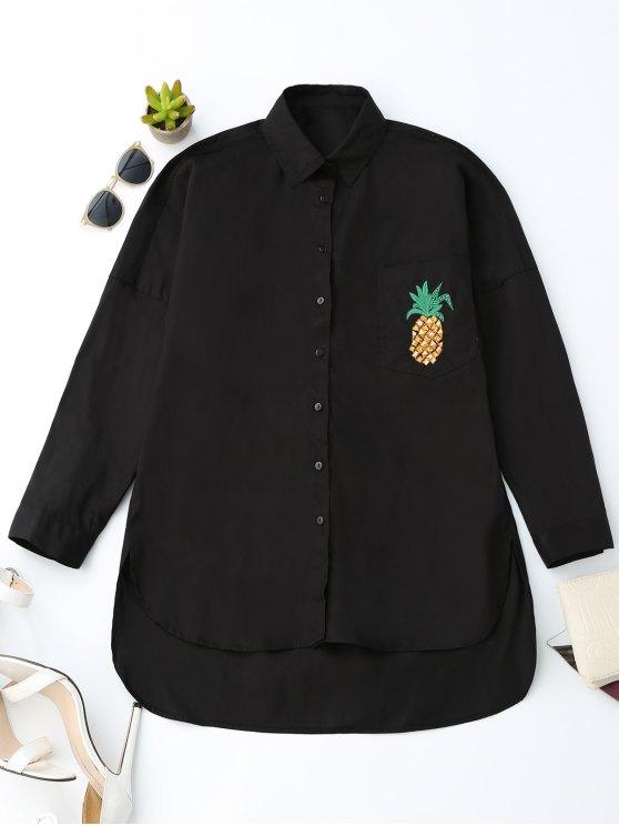 Camisa de bolsillo de la piña del alto novio - Negro S
