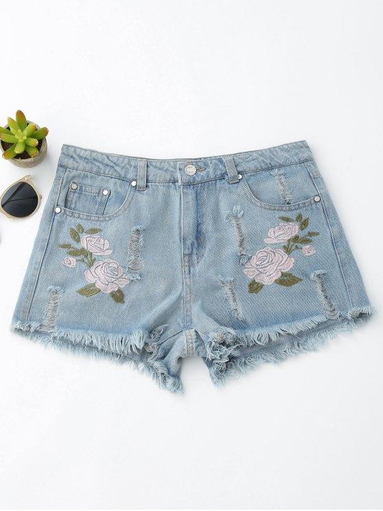 affordable Floral Embroidered Frayed Hem Hot Denim Shorts - DENIM BLUE M
