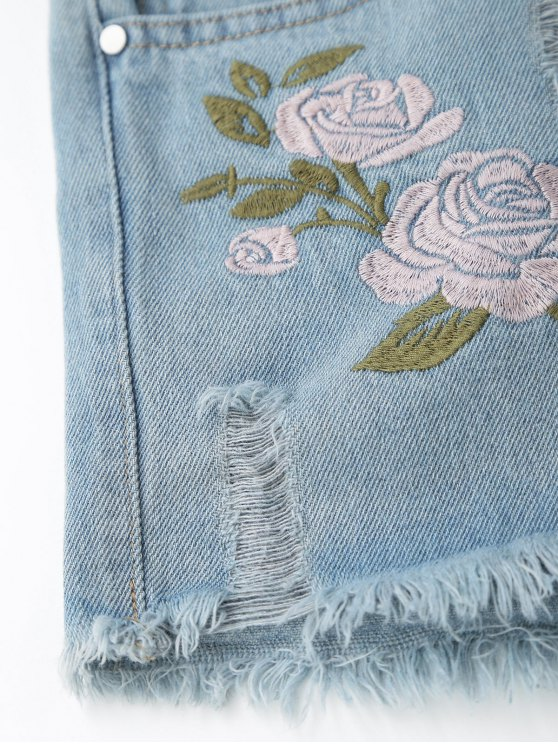 Floral Embroidered Frayed Hem Hot Denim Shorts - DENIM BLUE L Mobile