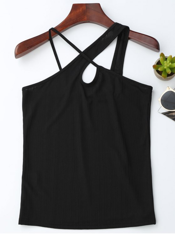 ladies Crossover Jacquard Tank Top - BLACK S