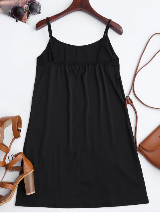 Satin Floral Embroidered Slip Mini Dress - BLACK S Mobile