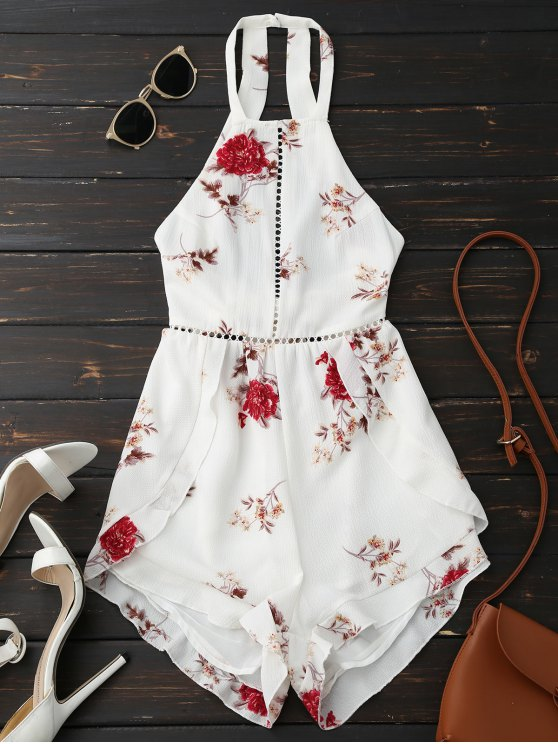 online Open Back Floral Romper With Belt - WHITE S