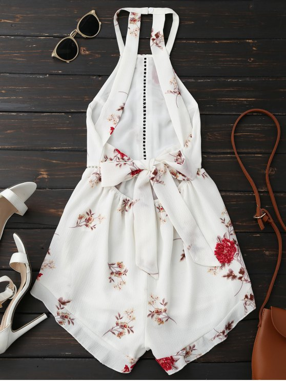 Open Back Floral Romper With Belt - WHITE M Mobile