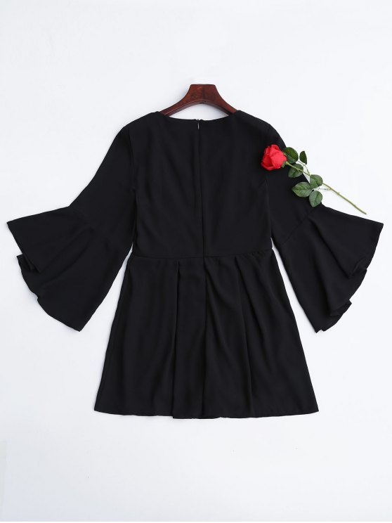 Flare Sleeve Ruffles Floral Embroidered Romper - BLACK 2XL Mobile