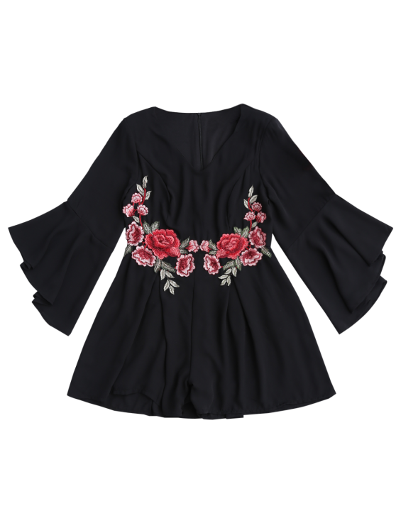 Flare Sleeve Ruffles Floral Embroidered Romper - BLACK L Mobile