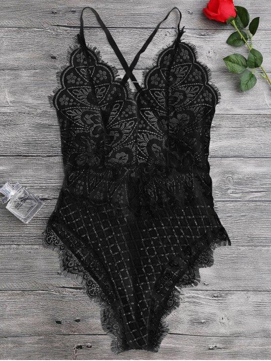 online Scaolloped Sheer Eyelash Lace Teddy Bodysuit - BLACK L