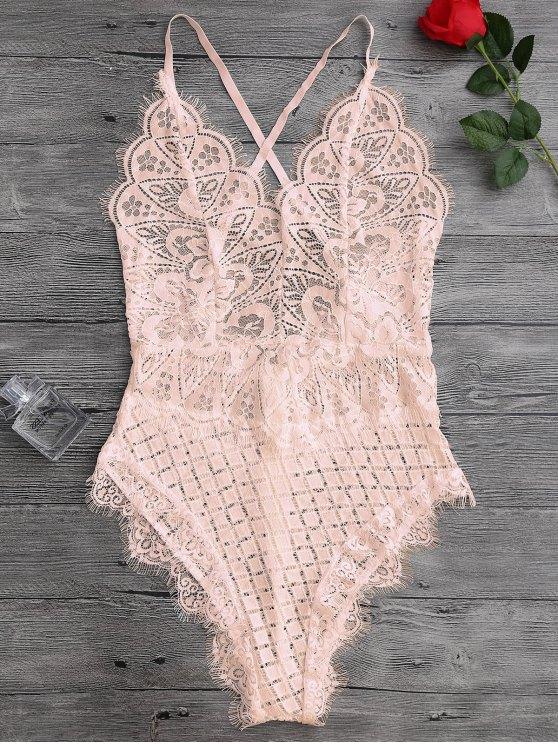 shop Scaolloped Sheer Eyelash Lace Teddy Bodysuit - APRICOT XL