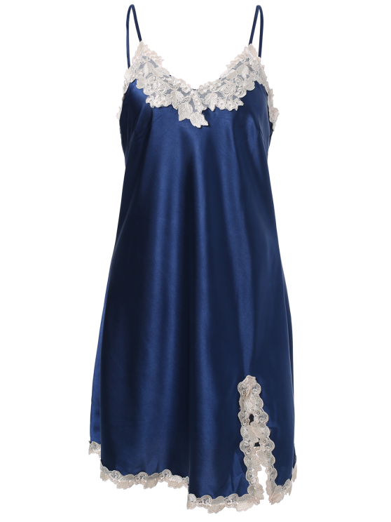 Lace Trimmed Satin Slip Sleep Dress - ROYAL BLUE 2XL Mobile