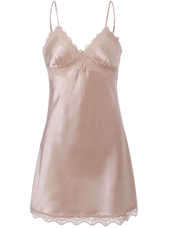 Lace Trim Satin Slip Sleep Dress - LIGHT PINK M Mobile