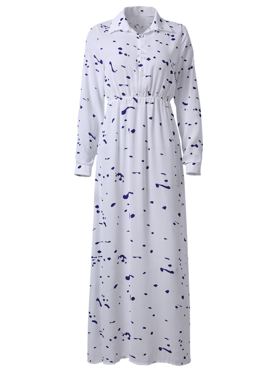 Ink Print Shirt Neck Long Sleeve Maxi Dress - WHITE XL Mobile