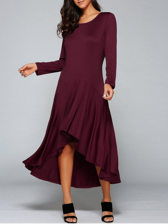 best High Low Long Sleeve Dress - WINE RED M