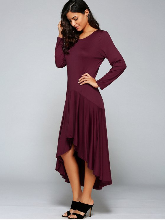 High Low Long Sleeve Dress - WINE RED M Mobile