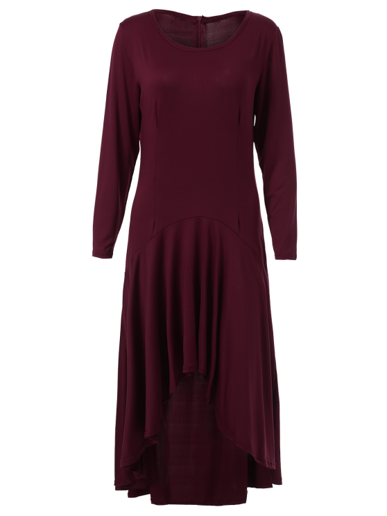High Low Long Sleeve Dress - WINE RED L Mobile