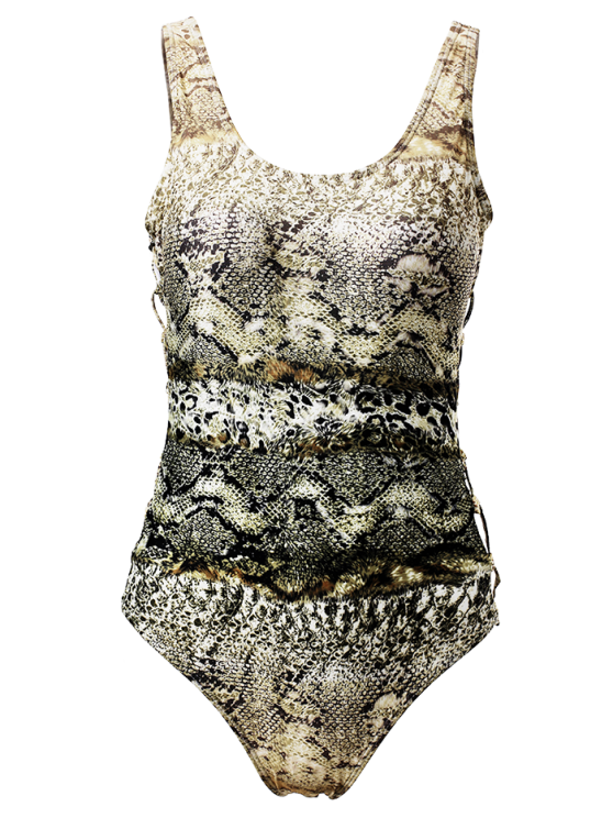 Scoop Neck Snake Print One-Piece Swimwear - COLORMIX L Mobile