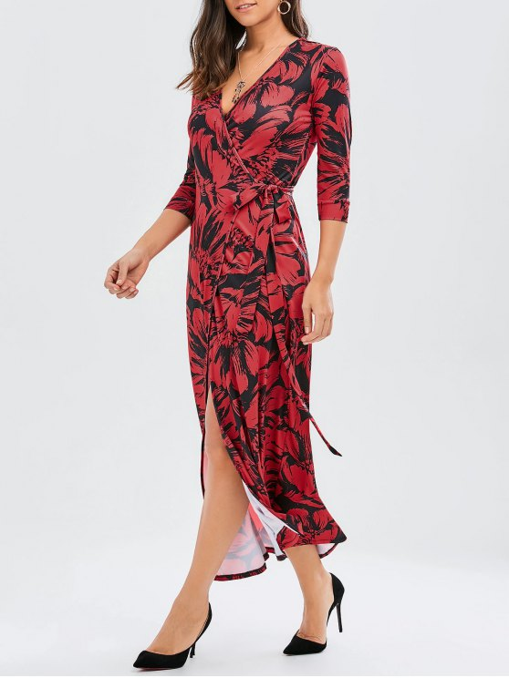 latest Print Side Knot Slit Maxi Wrap Dress - DEEP RED L