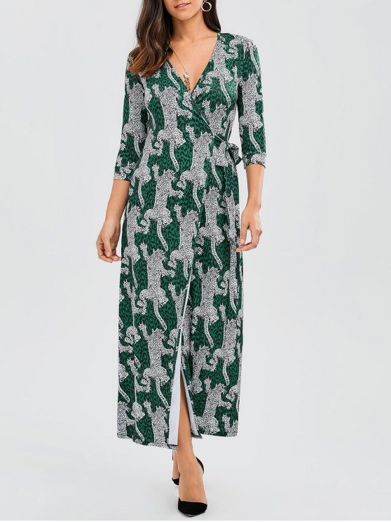 chic Leopard Wrap Maxi Dress - LEOPARD L