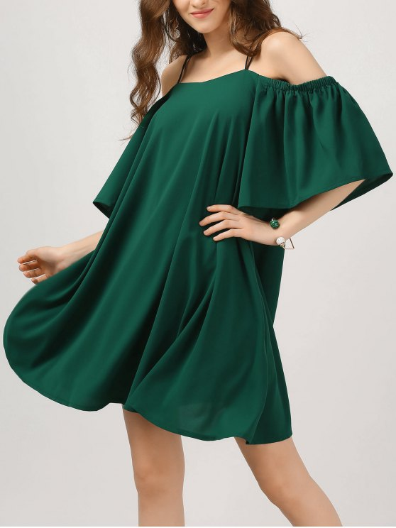 best Elastic Straps Cold Shoulder Bell Sleeve Dress - BLACKISH GREEN L