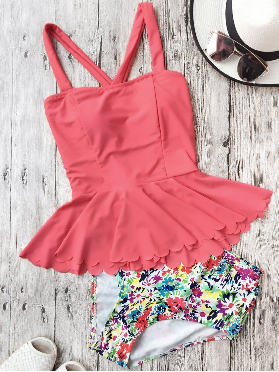 Falbala Dasiy High Waisted Peplum Tankini - WATERMELON RED L Mobile