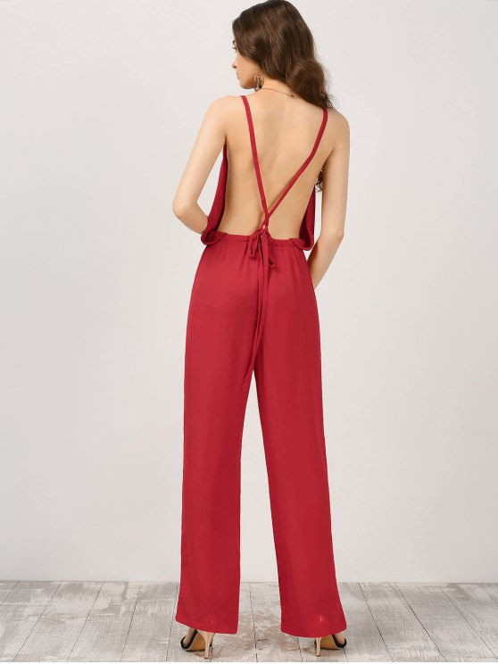 Plunge Open Back Chiffon Jumpsuit - RED M Mobile