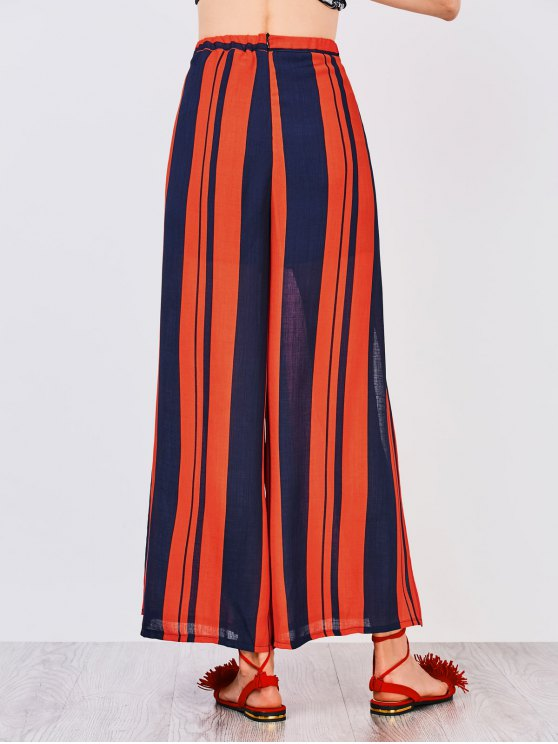 High Slit Wide Leg Pants - COLORMIX S Mobile