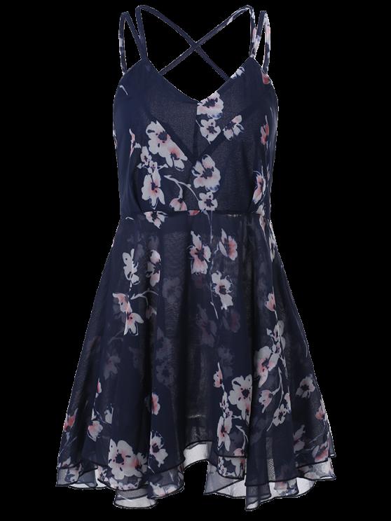 Slip Backless Floral Print Swing Dress - BLUE M Mobile