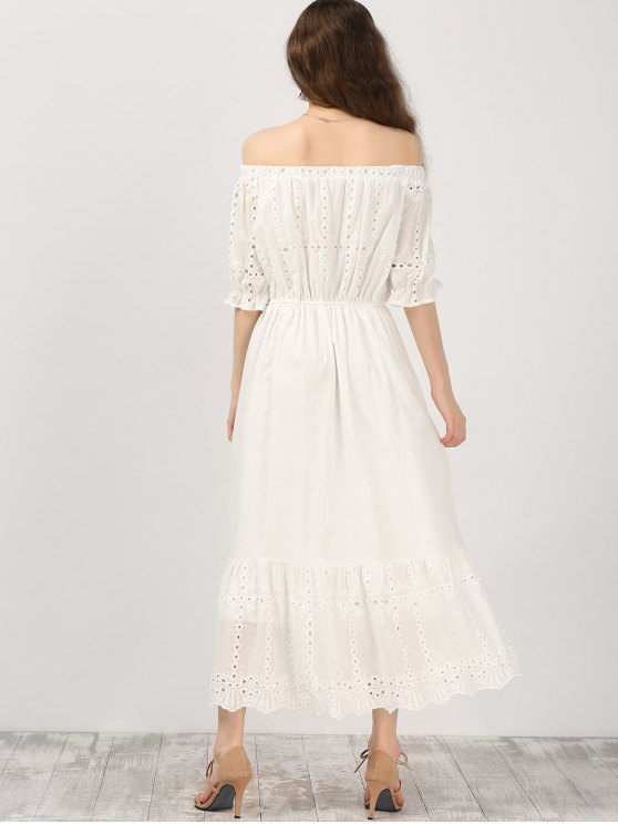 Off Shoulder Ruffle Hollow Out Dress - WHITE S Mobile