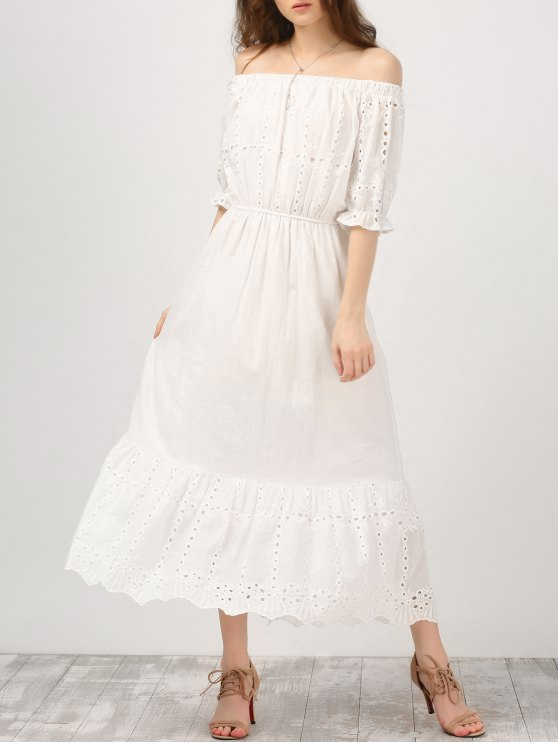 Off Shoulder Ruffle Hollow Out Dress - WHITE M Mobile