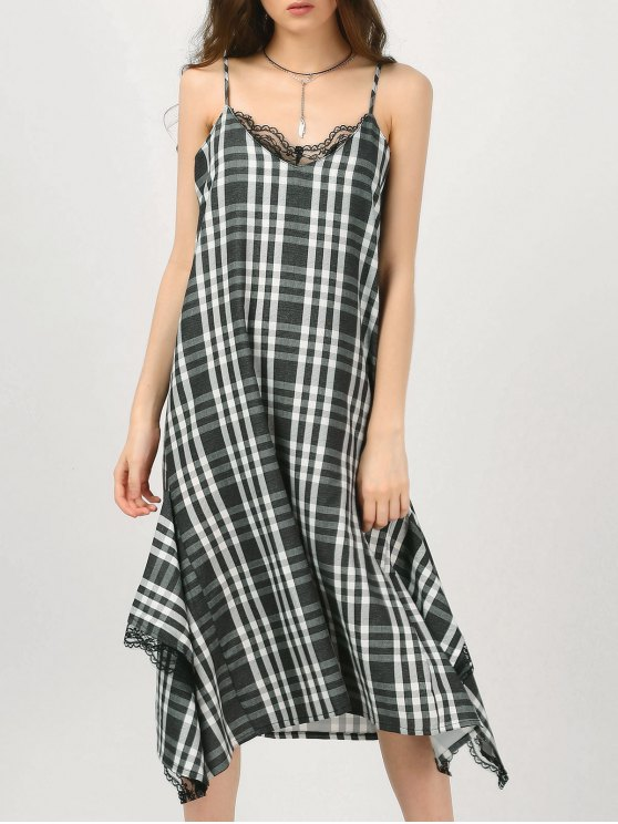 latest Cami Lace Panel Plaid Asymmetric Dress - CHECKED L