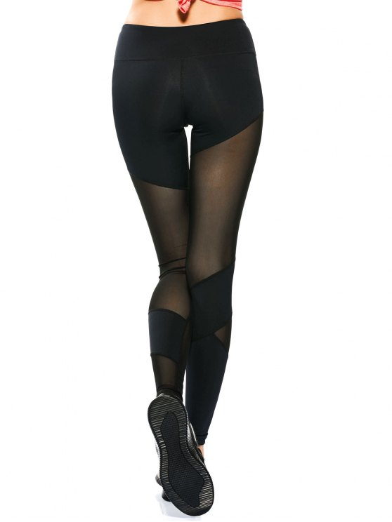 Mesh Insert Skinny Yoga Leggings - BLACK S Mobile