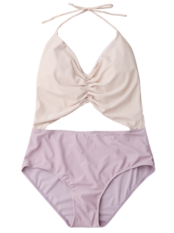 Color Block Ruched Cutout One Piece Swimsuit - NUDE M Mobile